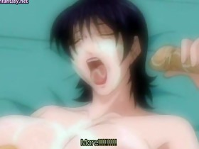 Hot anime milf gives oral sex