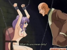 Chained anime gal gets vibrator by bald gu