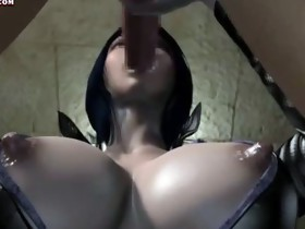 Animated bitch in latex engulfing