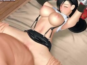 Sexy animated hottie with round boobs