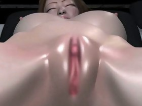 Busty animated babe receives fingered