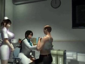 3d cartoon female nurse n doctor