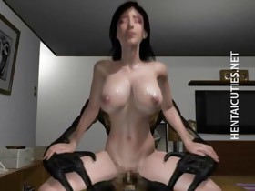 Huge titted 3D anime wench riding cock