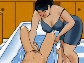 Mature mommy cook jerking dong her guy - animation