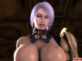 Biggest boobs 3D chick drilled by various cartoons