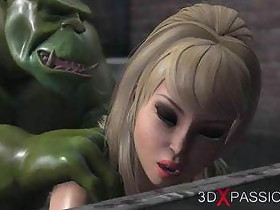 Horny girl gets fucked hard by a green monster in the sewer