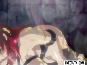 Bound redheaded hentai tranny bitch acquires eaten and..
