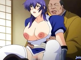 Blue-haired hentai babe with a set of giant knockers gets..