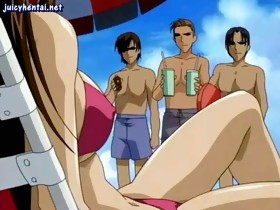 Fastened Up Anime Babe Gets Group-fucked
