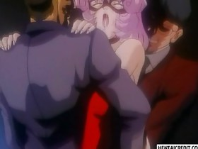 Anime gal gets double penetrated
