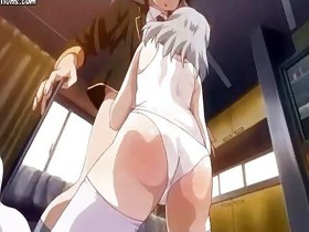 Crazy anime babe rubbing hard dick